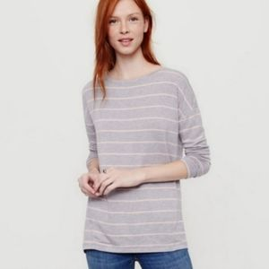 Lou & Grey Gray Pink Striped Long Sleeve Top Small